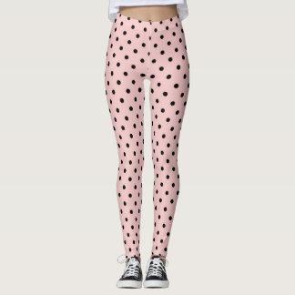 Rosa schwarzer Tupfen Leggings