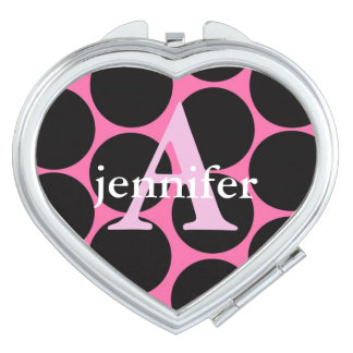 Rosa schwarzes Tupfen-Monogramm Taschenspiegel