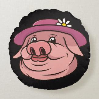 Rosa Schwein-Schwarz-Kissen Rundes Kissen