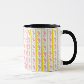 Rosa Seepferde mit Gelb Tasse