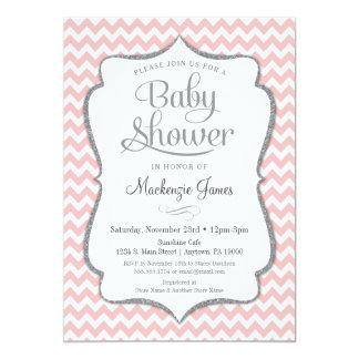 Rosa silberne Baby-Duschen-Einladungs-Zickzack Karte