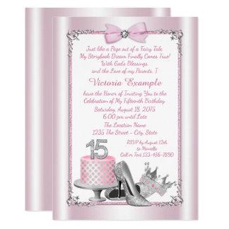 Rosa silberne Prinzessin Quinceanera Invitations 12,7 X 17,8 Cm Einladungskarte