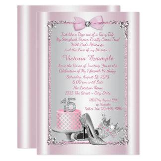 Rosa silberne Quinceanera Einladungen