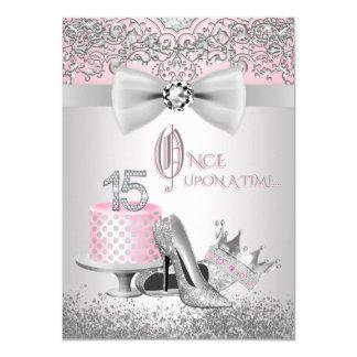 Rosa silberne Quinceanera Prinzessin Birthday 11,4 X 15,9 Cm Einladungskarte