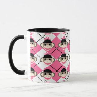 Rosa Socken-Affen auf rosa weißem Rauten-Diamanten Tasse