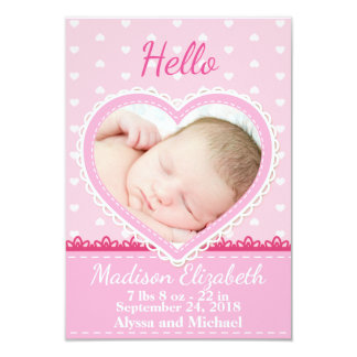 Rosa Spitze-Herz-Geburts-Mitteilung Karte