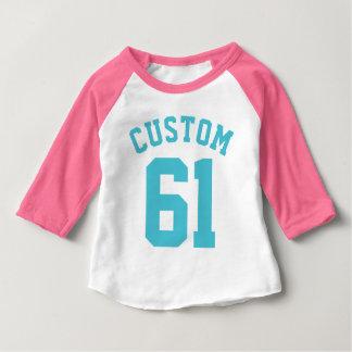 Rosa Sport Jersey des Weiß-u. Türkis-Baby-| Baby T-shirt