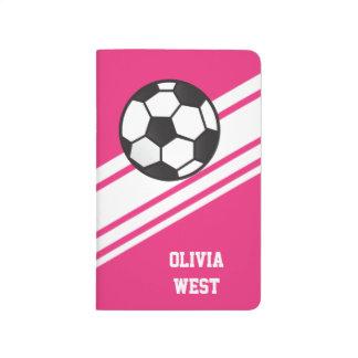 Rosa sportliche Streifen-personalisierte Taschennotizbuch