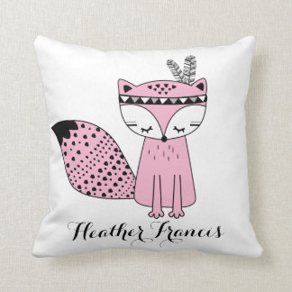 Rosa Stammes- Waldfox-Baby-Mädchen-modernes Kissen