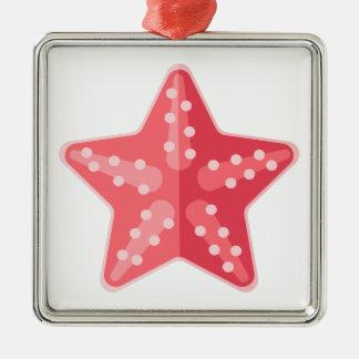 Rosa Starfish-Primitiv-Art Silbernes Ornament