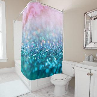 Rosa Steigungs-blauer aquamariner Schein-Trendy Duschvorhang
