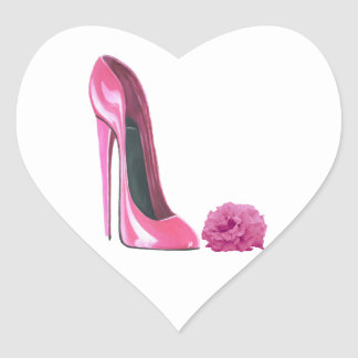 Rosa Stilett-Schuh und rosa Rosen-Kunst Herz Sticker