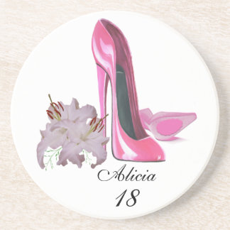 Rosa Stilett-Schuhe und Lilien kundengerechtes Untersetzer