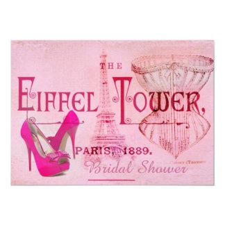rosa Stilettkorsett-Eiffel-Turm-Brautparty Karte