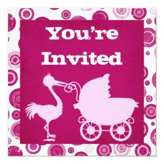 Rosa Storch-Babyparty-Einladung für Mädchen Karte