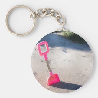 Rosa Strand-Spaten Schlüsselring/Keychain Schlüsselanhänger