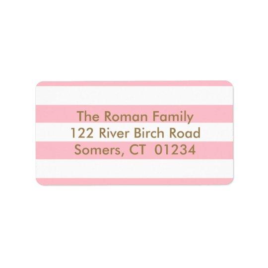 Rosa Stripes Rücksendeadresse, Goldbuchstaben Adressaufkleber