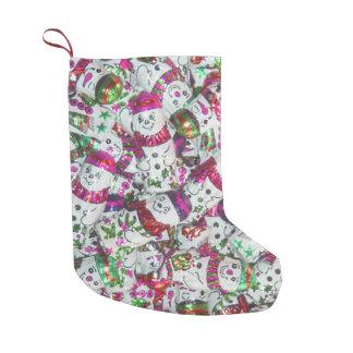 Rosa Strumpf der süßen Snowmen doppelseitig Kleiner Weihnachtsstrumpf