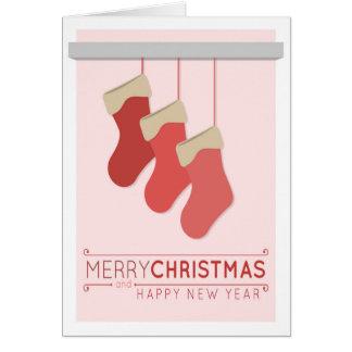 Rosa Strumpf-Weihnachtskarte Karte
