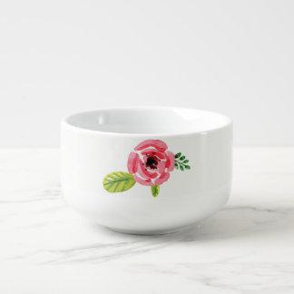 Rosa Suppen-Schüssel der Watercolor-Blumen-| Große Suppentasse