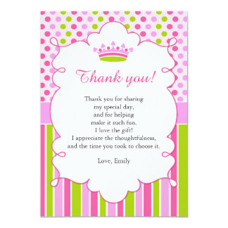 Rosa tadellose Prinzessin Thank You Card Note Karte