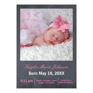 Rosa Tafel-Foto - Geburts-Mitteilung Karte