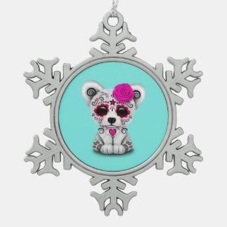 Rosa Tag des toten Baby-Eisbären Schneeflocken Zinn-Ornament