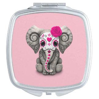 Rosa Tag des toten Elefanten Taschenspiegel