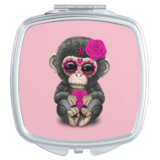 Rosa Tag des toten Schimpansen Taschenspiegel