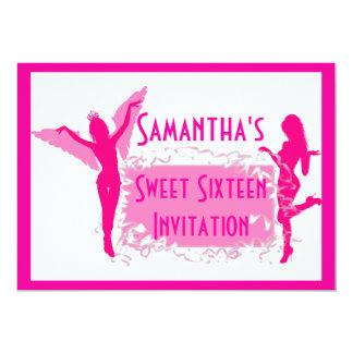Rosa Tänzer 16. Geburtstag 12,7 X 17,8 Cm Einladungskarte