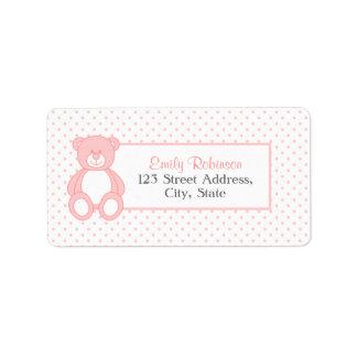 Rosa Teddybär-Adressen-Etiketten Adressetikett