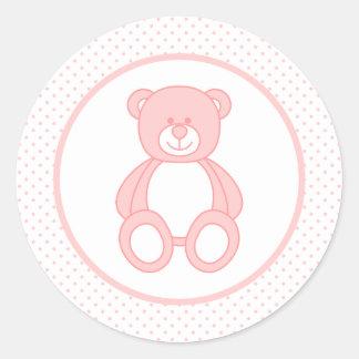 Rosa Teddybär-Aufkleber Runder Aufkleber