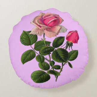 Rosa Tee-Rosen Rundes Kissen