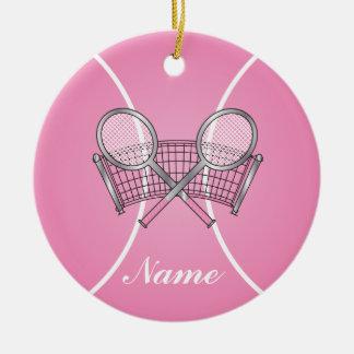 Rosa Tennisball | personifizieren Keramik Ornament