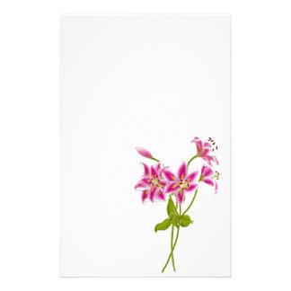Rosa Tiger-Lilien-Briefpapier Büropapiere