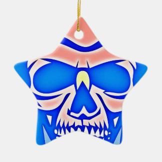Rosa Totenkopf im blauen Grund Keramik Ornament