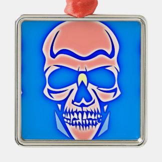 Rosa Totenkopf im blauen Grund Silbernes Ornament