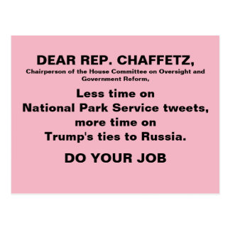 Rosa Trumpf-Russland-Protest Jasons Chaffetz Postkarte