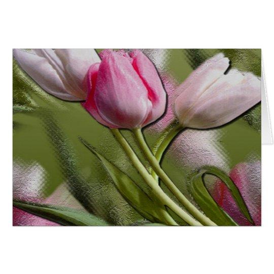 Rosa Tulpe-Ebenen-Karte Grußkarte
