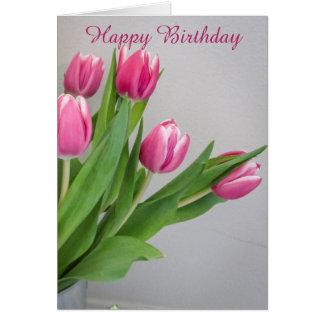 Rosa Tulpe-Geburtstags-Karte Karte