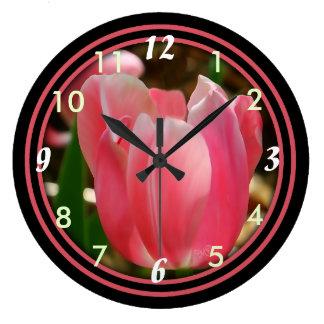 Rosa Tulpe Uhr-b-wählen Größe u. Form Große Wanduhr