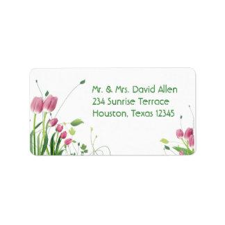 Rosa Tulpe-weiße Adressen-Etiketten Adressaufkleber