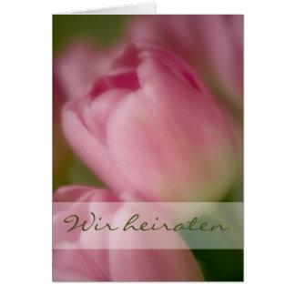 Rosa Tulpen • Hochzeitseinladung Grußkarte