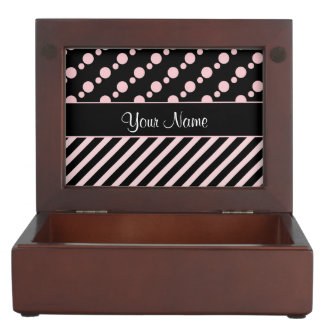Rosa Tupfen und Streifen auf schwarzem Hintergrund Erinnerungsdose