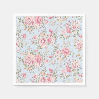Rosa u. blaue BlumenShabby Chic-Servietten Serviette