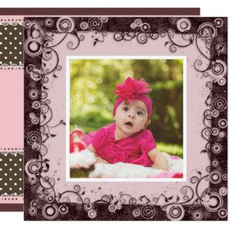 Rosa u. Brown-Baby-erste Geburtstags-Einladung Quadratische 13,3 Cm Einladungskarte