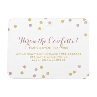Rosa u. Goldconfetti-Punkt-Geschäfts-Magnet