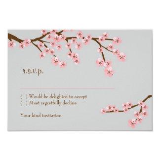 Rosa u. graue Kirschblüten-Frühlings-Hochzeit 8,9 X 12,7 Cm Einladungskarte
