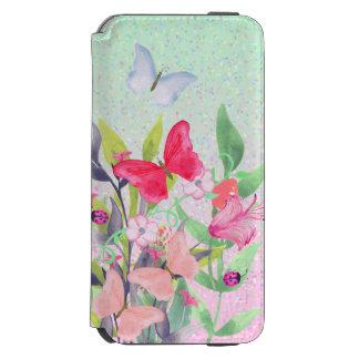 Rosa u. rote Watercolor-Blumen u. Schmetterlinge Incipio Watson™ iPhone 6 Geldbörsen Hülle