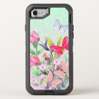 Rosa u. rote Watercolor-Blumen u. Schmetterlinge OtterBox Defender iPhone 8/7 Hülle